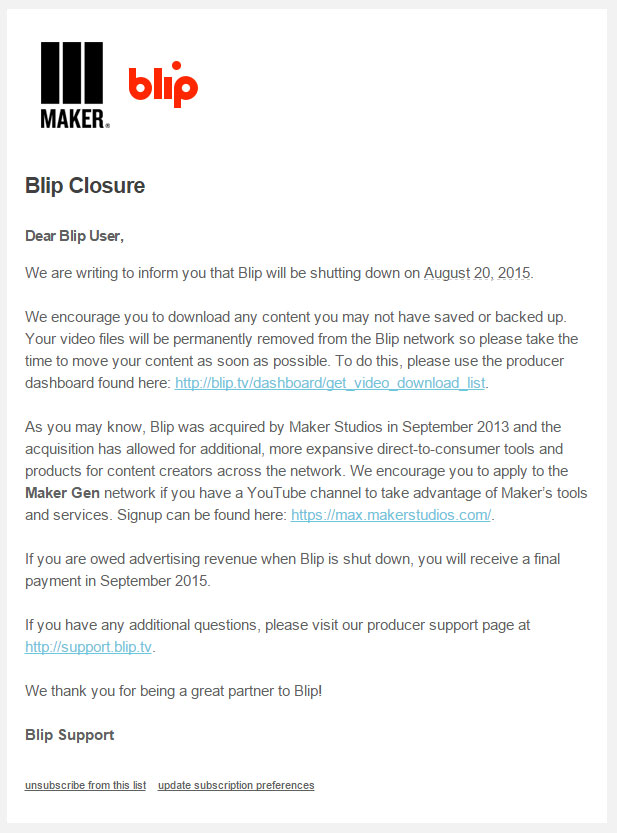Blip.tv letter announcing the closing of Blip