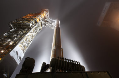 At Vandenberg Air Force Base in California, the gantry rolls back at Space Launch Complex 3 in preparation for the liftoff of NASA's InSight
