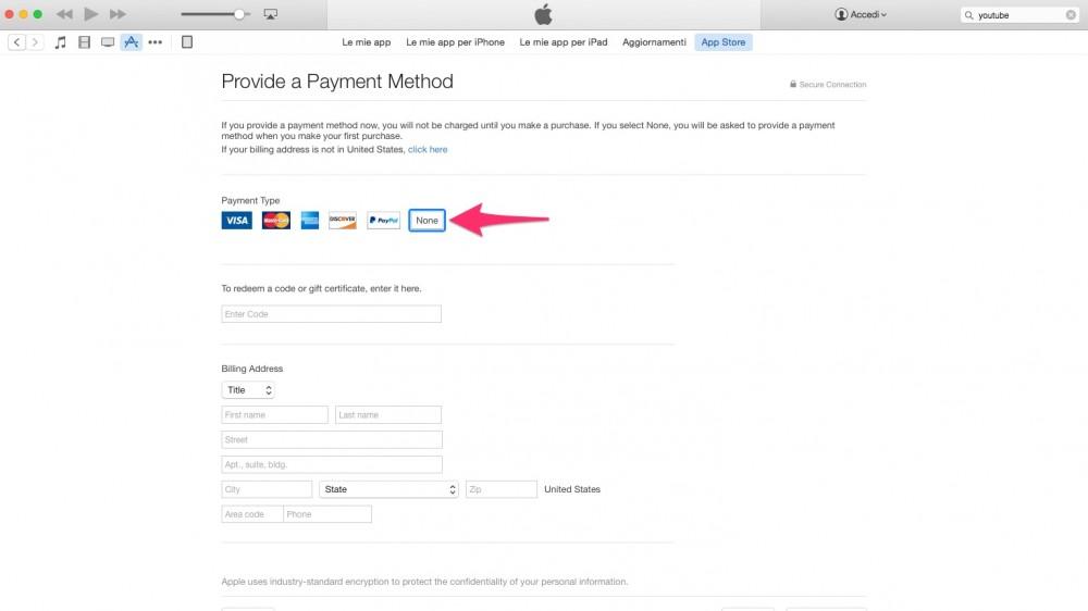 Creare account su iTunes Store americano: nessuna carta di credito