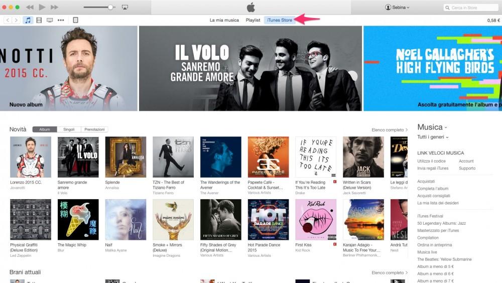 Apri iTunes Store