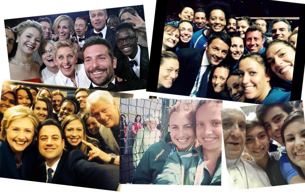 Selfie con personaggi famosi: la notte degli Oscar, Matteo Renzi, la famiglia Clinton, la regina Elisabetta e Papa Francesco