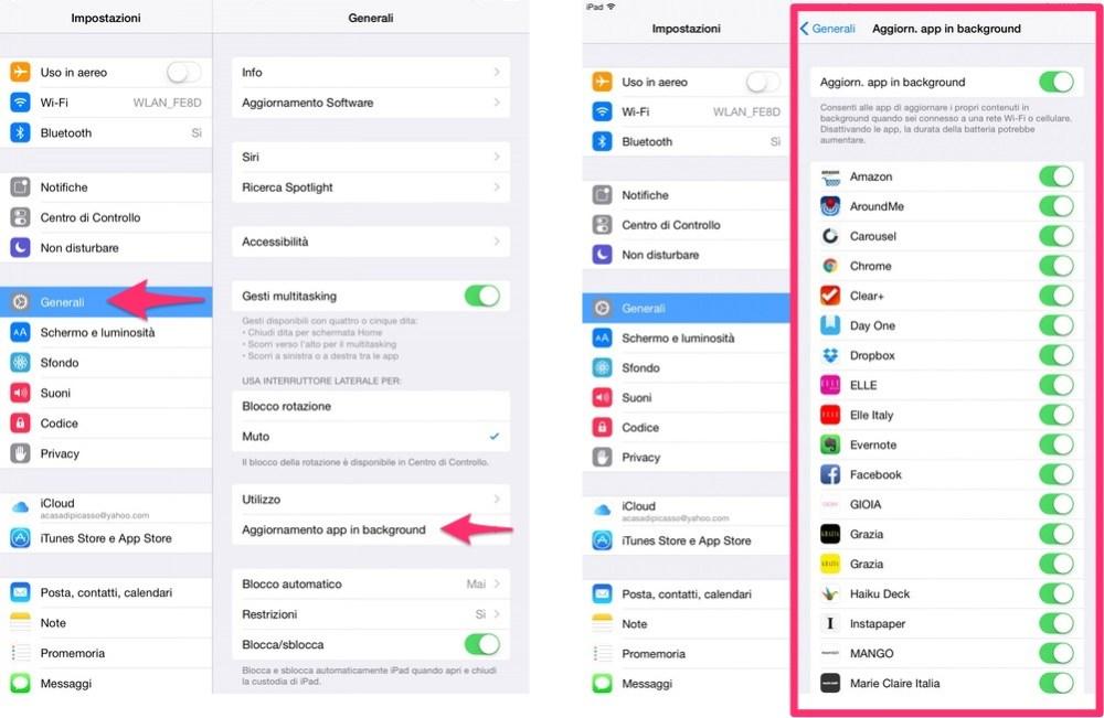 Come disattivare l'aggiornamento dei contenuti delle app in background su iPhone