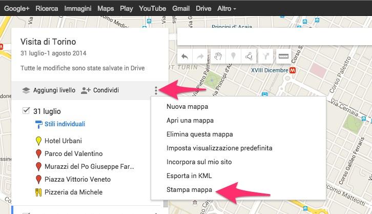 Come stampare una mappa creata con Google My Maps