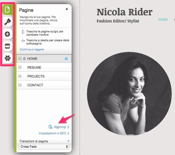 Come creare un sito web con Wix:  aggiungi una nuova pagina