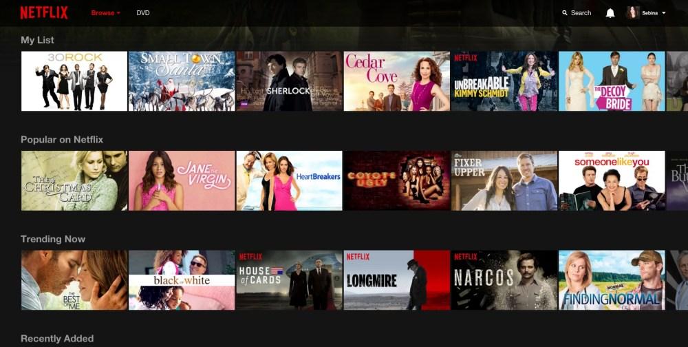 Netflix: homepage