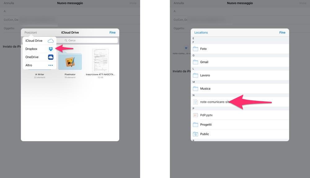 Inviare in allegato un file su Dropbox via iOS Mail - 5
