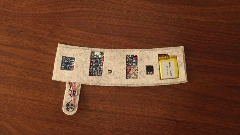 Il supporto di feltro su cui montare i componenti elettronici delle calze Netflix