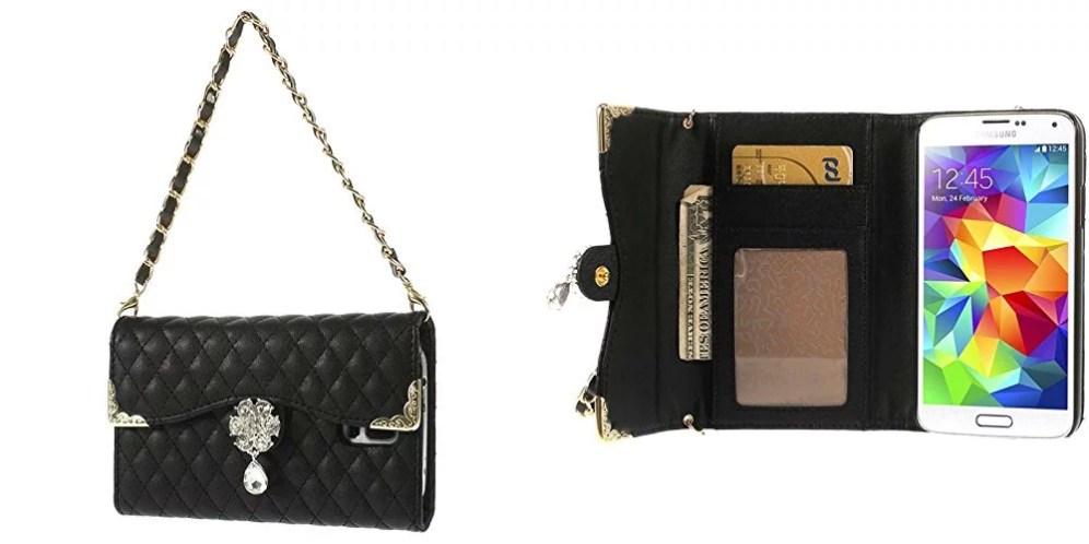 Cover portafoglio a borsetta per Samsung Galaxy S5