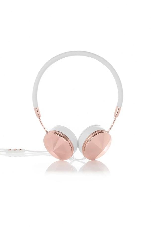 Cuffie Frends bianco e oro rosa