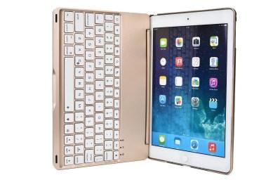 Cover e tastiera Bluetooth dorata per iPad Air 2