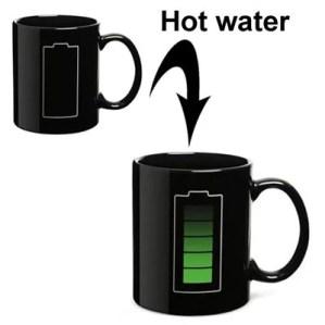 Tazza termosensibile con simbolo batteria