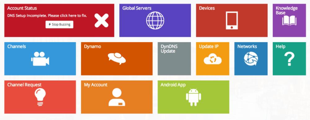 UnoTelly: prima della configurazione dei DNS lo status dell'account è evidenziato in rosso