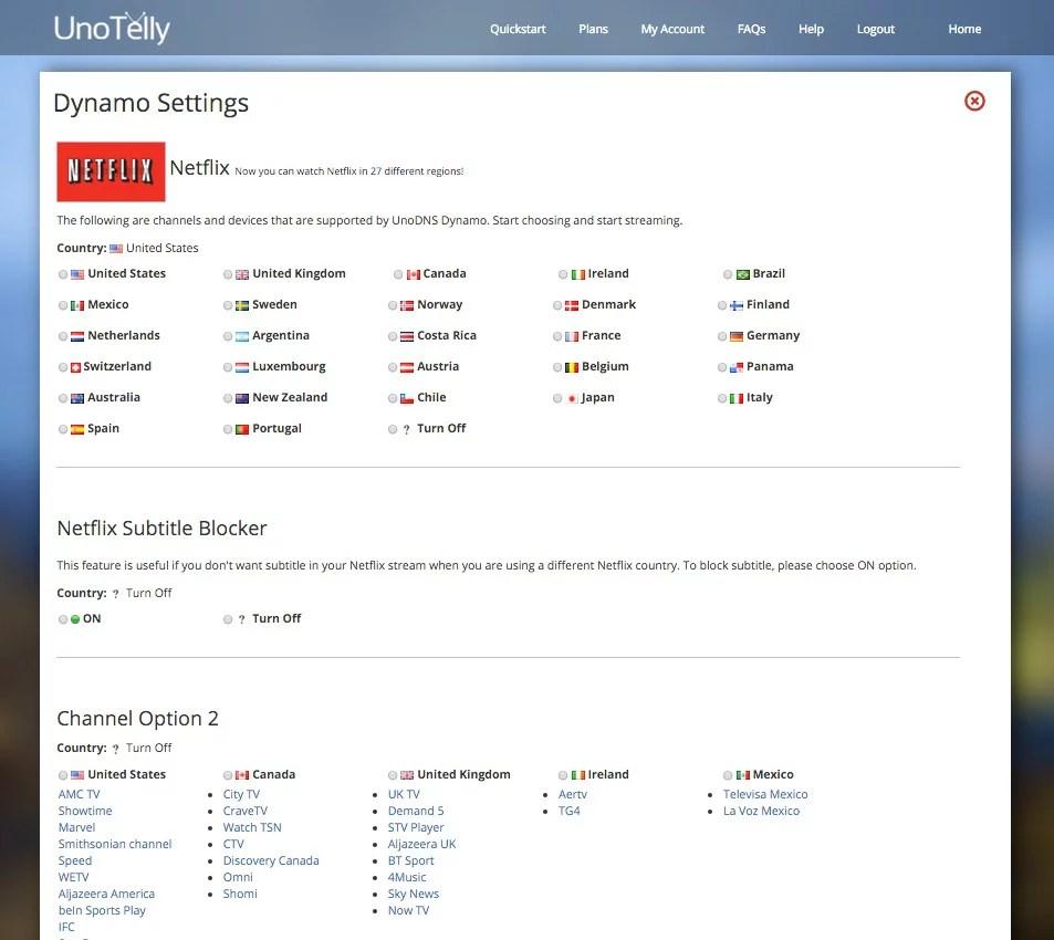 UnoTelly: schermata di alcune impostazioni della funzione Dynamo