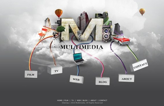Multimedia Website Layout photoshop 3d tutorials