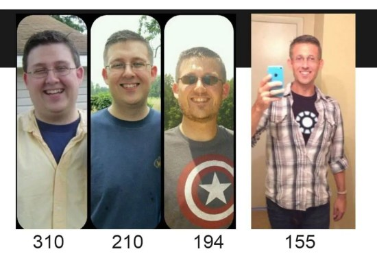 BJ at varying weights - from 310 pounds to 155