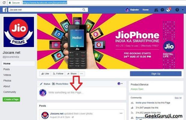 Facebook to Contact Jio Customer Care