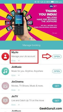Jio Care Service in MyJio App-geekguruji1