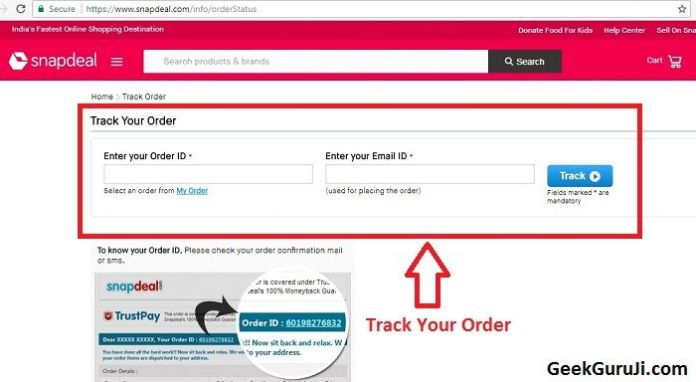 Snapdeal Courier tracking