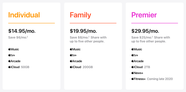Apple One plans and pricing screenshot