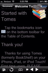 Night Reading in Tomes for iPhone