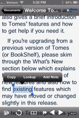 Text Selection in Tomes on iPhone