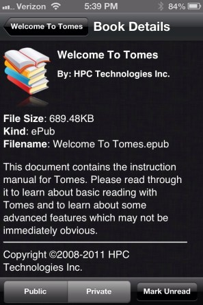 Book Details in Tomes