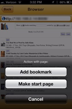 Browser in uBooks xl on iPhone