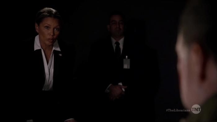 The Librarians S03E01 DOSA agents interrogating American tourist - TNT
