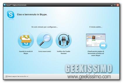 Skype schermata di Benvenuto