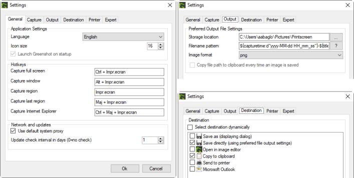 Configuration de Greenshot: modes de captures, qualité d'image et destination