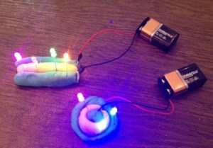 Examples of squishy circuits with LEDs in parallel.