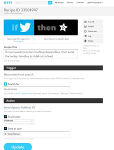 IFTTT Recipe to send Twitter search results to an Adafruit.io feed
