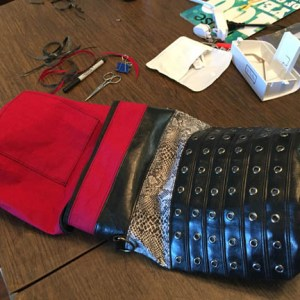 Once the bottom of the bag and lining are sewn in, invert the bag through the zipper.