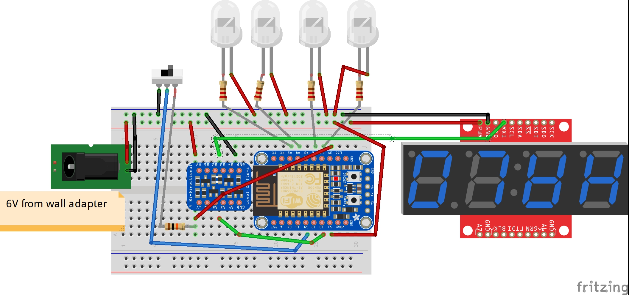 Apocalyptometer An Iot Connected Poll Tracking Display Geek Mom The Breadboard Schematic Of Circuit Above Is Shown Below Wiring