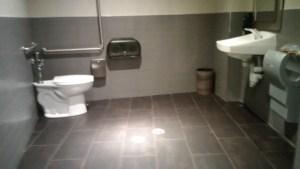 Massive bathroom done right at Shoeless Joe's Stockyards