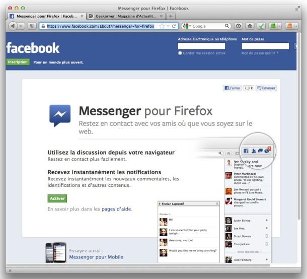 Facebook Messenger pour Firefox - Geekorner