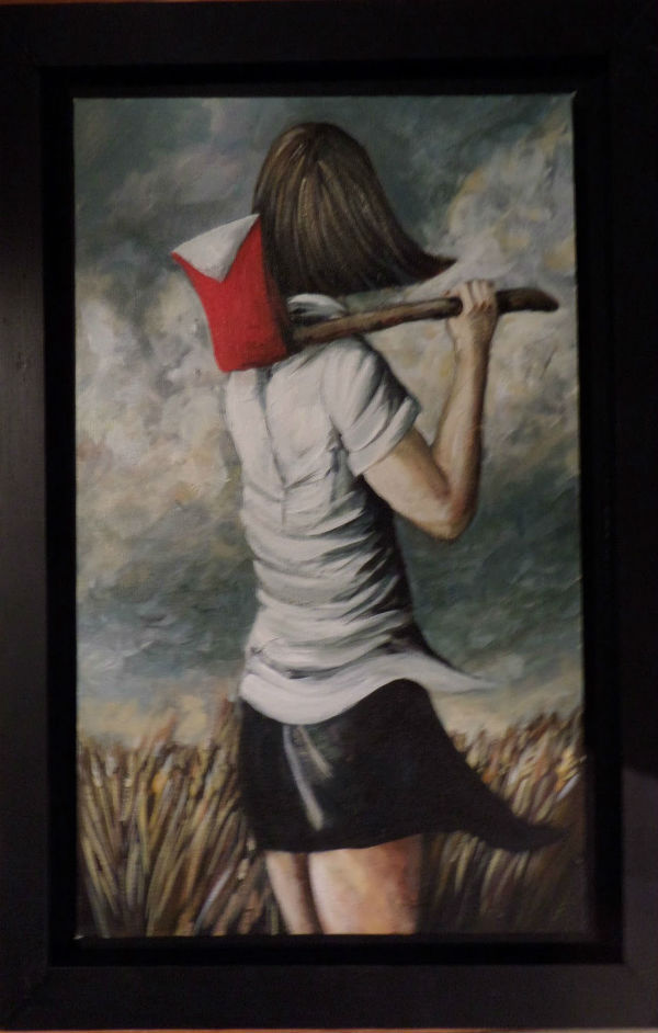 """Girl with an Axe"" by A Shay Hahn. It is a painting that feels like it could be the beginning of a story in itself."