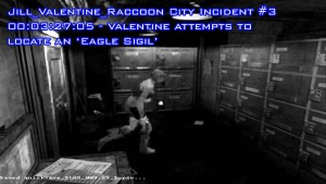 Footage from the Raccoon City Police station shows Jill Valentine participating in a bizarre scavenger hunt for idols and seals in order to open a door clearly navigable by other means during a T-Virus outbreak