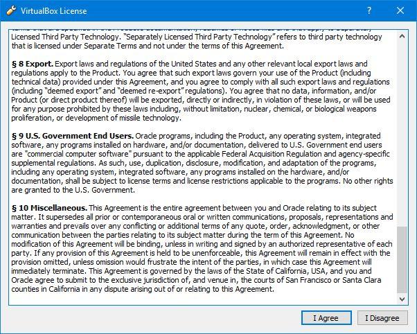 VirtualBox License