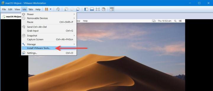 VM > VMware Tools