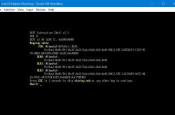 Fix EFI Internal Shell on Mojave on VMware or VirtualBox