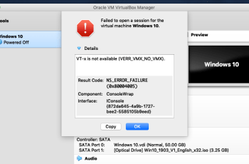 Failed to Open Session For The Virtual Machine