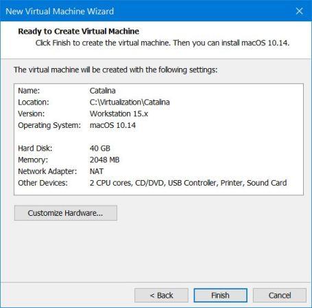 Ready to Create Virtual Machine