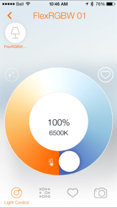 Using the Osram app to control the Flex smart light strips.