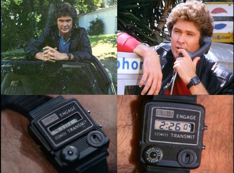 Michael Knight, the man who didn't exist, keeps in close contact with his snooty British car KITT via a Casio Comlink