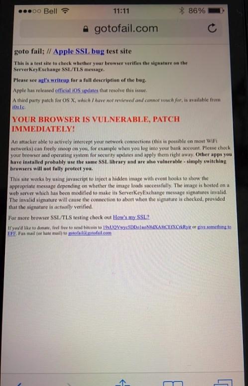 GoToFail - Apple iOS - Browser Vulnerable