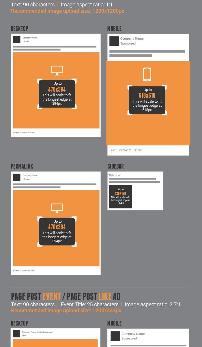 Dimensions nouvelles pages Facebook 2014