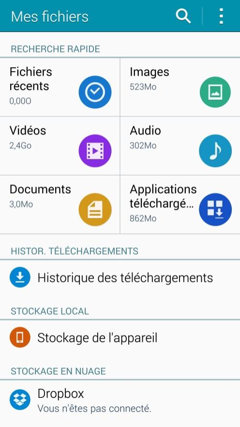 Gestionnaire de fichiers Samsung Galaxy Note 4