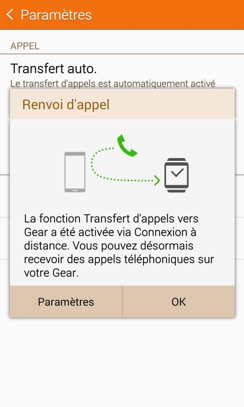 Samsung Galaxy Gear S - Transfert appels