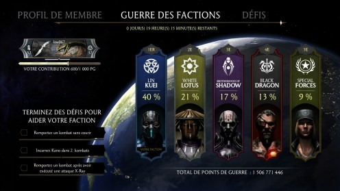 La page des factions